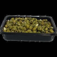 Olive verte dénoyautée à l'ail