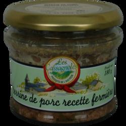 Terrine de porc recette fermière LES CASSAGNOLES, pot en verre de 180g