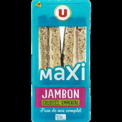 Sandwich maxi jambon emmental et crudités U, 230g