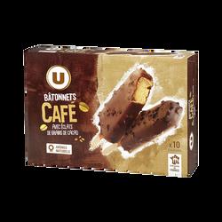 Bâtonnets glacés café, U, x10, 370g