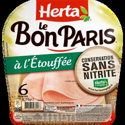 Jambon le bon Paris à l'étouffée conversation sans nitrite HERTA, 6 tranches, 210g