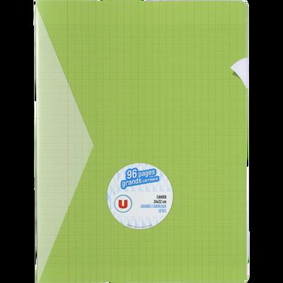 Grand cahier piqure U, grands carreaux, 24x32cm, 96 pages, vert