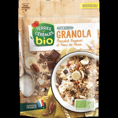 Granola bananes chocolat pécan bio Terres & Céréales, 375g