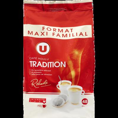 Café torréfié et moulu tradition U, 48 dosettes, 336g