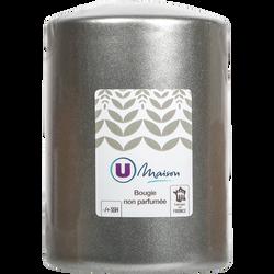 Bougie cylindrique U MAISON diamètre 78x110mm argent