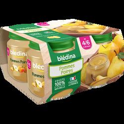 Petits pots pour bébé pomme poire BLEDINA, dès 4 mois, 4x130g