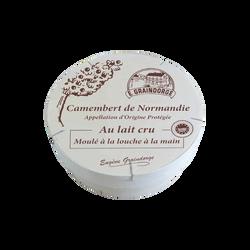 Camembert de Normandie AOP au lait cru moulé à la louche 3/4 affiné TRADITIONS DE NORMANDIE, 20% de MG, 250g