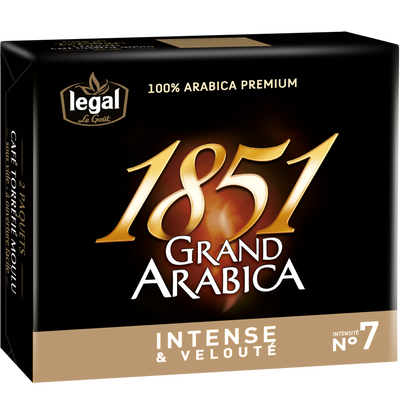 Café moulu grand arabica 1851 LEGAL, 2 paquets de 250g, 500g