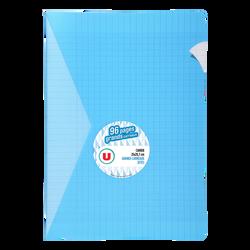 Grand cahier piqure U, grands carreaux, 21x29,7cm, 96 pages, bleu