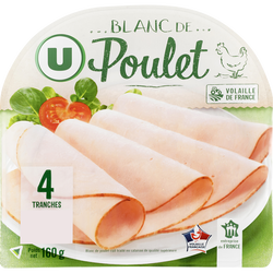 Blanc de poulet U, 4 tranches, 160g