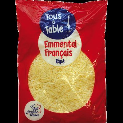 Emmental pasteurisé râpé tous à table, 30% de MG, 1 kg