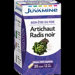 Digestion bien-être du foie artichaut radis noir JUVAMINE, 25 gélules