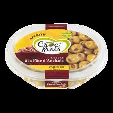 Olives vertes farcies aux anchois, CROC'FRAIS, barquette 200g