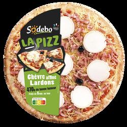 La pizza chèvre affiné et lardons SODEBO, 470g