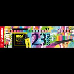 Surligneur STABILO BOSS ORIGINAL x23-pointe biseautée 2mm/ 5mm-rechargeable-encre à base d'eau