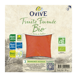 Truite fumée bio OVIVE, 3 tranches, 90g