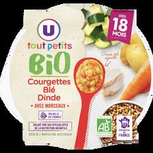Assiette courgette blé et dinde BIO U TOUT PETITS, dès 18 mois,  260g