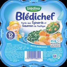 Assiette pour bébé épinards tendres et saumon BLEDICHEF, dès 12 mois,230g
