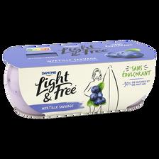 Spécialité laitière sucrée à la myrtille sauvage LIGHT&FREE, 2 pots de120g