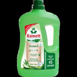 Lessive liquide concentrée écologique aloé véra RAINETT, bouteille de3 litres, 45 lavages