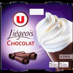 Dessert liégeois chocolat et crème fouettée U 4x100g