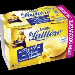 Dessert lacté aux oeufs frais aromatisé vanille LA LAITIERE, 4x100g