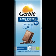 Chocolat au lait glucoregul sans sucres ajoutés GERBLE, tablette de 80g