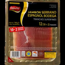 Espuna Jambon Serrano Espagnol Bodega  10 Tranches +2 Gratuites 144g