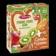 Materne Materne Ssa Pomme Poire Kiwi Céréales & Graines, 4x90g