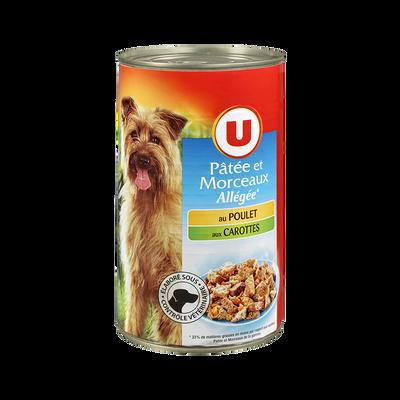 Patée+morceaux allégé pour chien poulet carottes U boîte 3/12 1,240kg