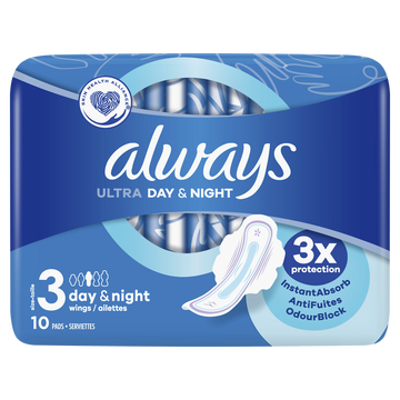 Always Serviettes Ultra Ailettes Day&night Always Taille3 X10