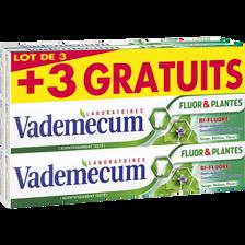 Vademecum Dentifrice Fluor & Plantes Bi-fluoré , 3x75ml + 3x75ml Offerts