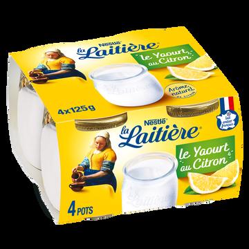 Nestlé Yaourt Lait Entier Saveur Citron La Laitiere, Pot En Verre 4x125g