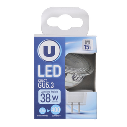 Led U, spot, 35w, gu5,3, verre, lumière froide