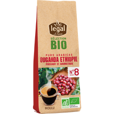 Café moulu sélection BIO Ouganda et Ethiopie BIO LEGAL, paquet de 250g