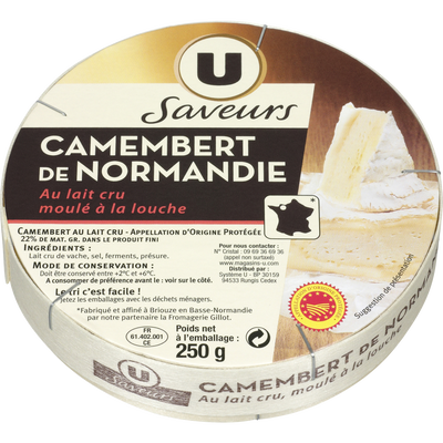 Camembert de Normandie AOP au lait cru U SAVEURS, 22%MG, 250g