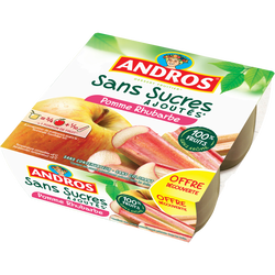 Dessert fruitier de pomme et de rhubarbe sans sucre ajouté ANDROS, 4x100g