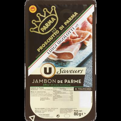 Jambon de Parme Saveur U, 6 tranches soit 80g