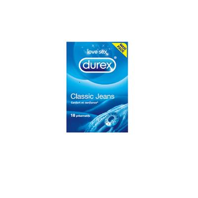 Préservatif Classic Jeans DUREX, boîte de 18