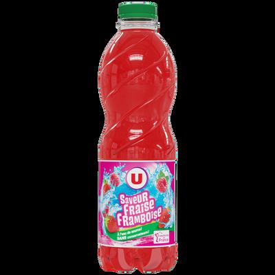 Boisson aux fruits plate fraise framboise U, bouteille de 1l