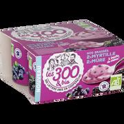 Les 300 & Bio Yaourt Brassé Au Lait Entier Sucré À La Mure Et À La Myrtilles Aromatisé Les 300 & Bio, 4x125g