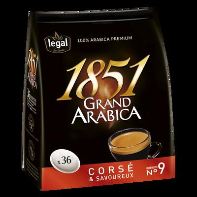 Café grand arabica corsé 1851 LEGAL, 36 dosettes soit 250g