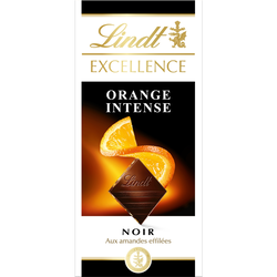 Chocolat noir orange intense Excellence LINDT, tablette de 100g