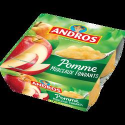 Dessert fruitier avec morceaux de pomme, ANDROS, 4x100g
