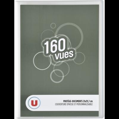 Protège documents 160 vues U 21x29,7cm, couverture personnalisable, coloris assortis : bleu, transparent, gris, turquoise