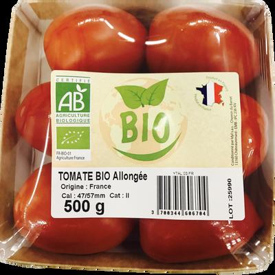 Tomate allongée, Segment Les allongées, BIO, catégorie 2, France, barquette, 500g