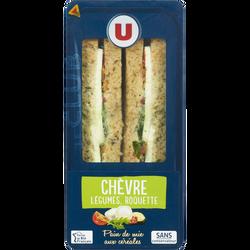 Sandwich au pain de mie aux céréales garni de fromage de chèvre, de tomates, de roquette et de courgettes grillées U, 210g
