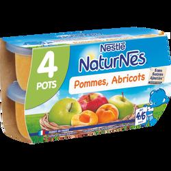 Compote pomme abricot NATURNES, dès 4-6 mois, 4x130g