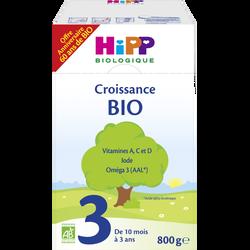 Croissance 3 biologique HIPP, dès 10 mois, boîte de 800g