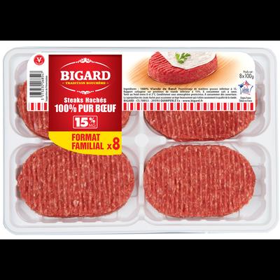 Steak haché, 15% MAT.GR., BIGARD, France, 8 pièces, 800g